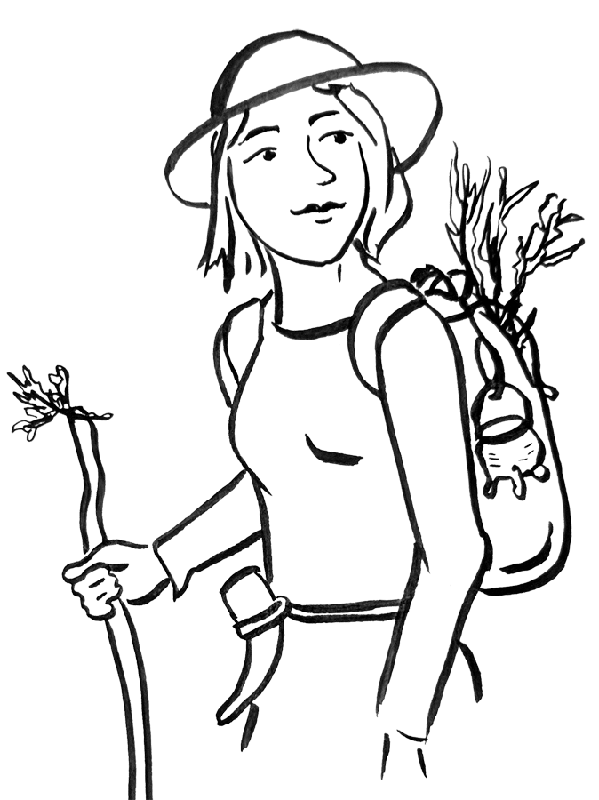 drawing of me hiking with herbs in my backpack